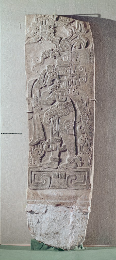Stele II, rectangular with relief depicting a figure standing on a platform, Pre-Classical period, c.1000 BC-250 AD (granite)