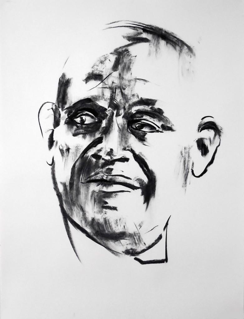 Grégory Forstner, Le Majordome, 2016, Fusain sur papier, 127 x 97 cm © Courtesy Gregory Forstner