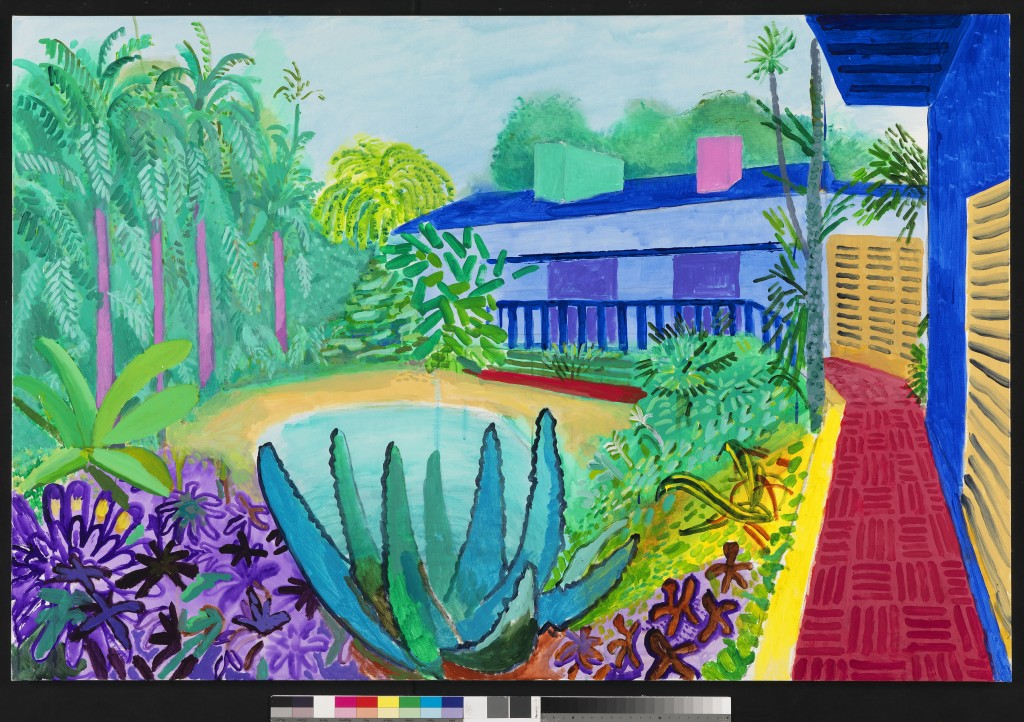 "David Hockney ""Garden, 2015"" Acrylic on canvas 48 x 72"" © David Hockney Photo Credit: Richard Schmidt"